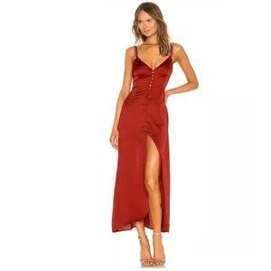 For Love & Lemons Scalloped Silk Maxi Dress XS Red